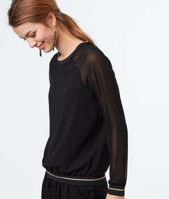 Top with transparent sleeves black.