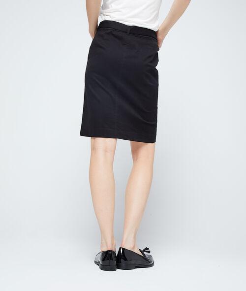 Cotton zipped skirt