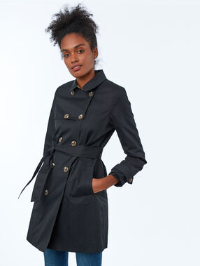 Three-quarter trench coat black.