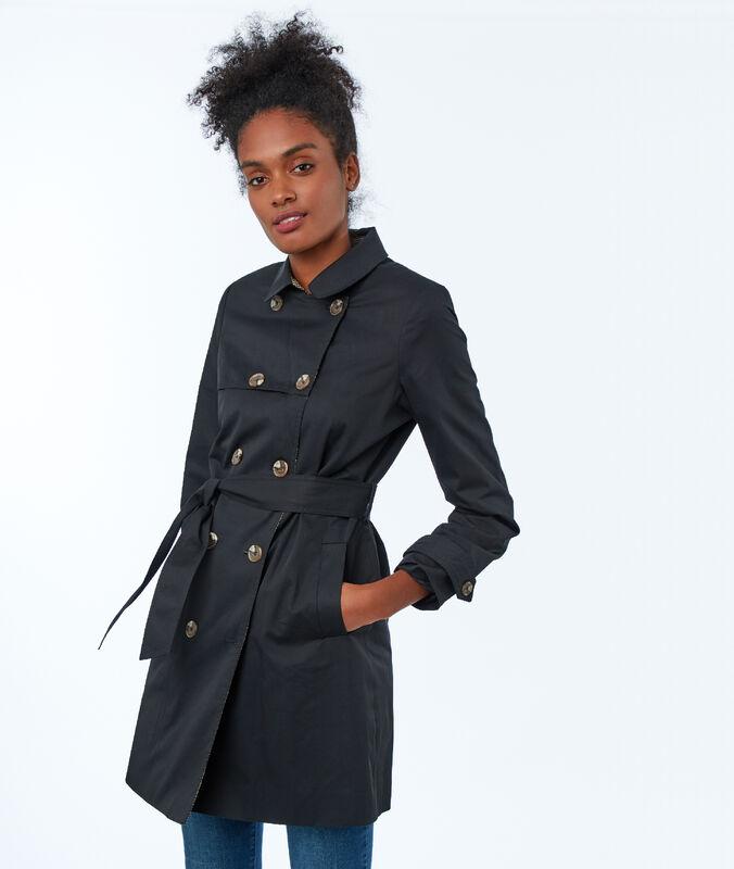 Three-quarter trench coat black.