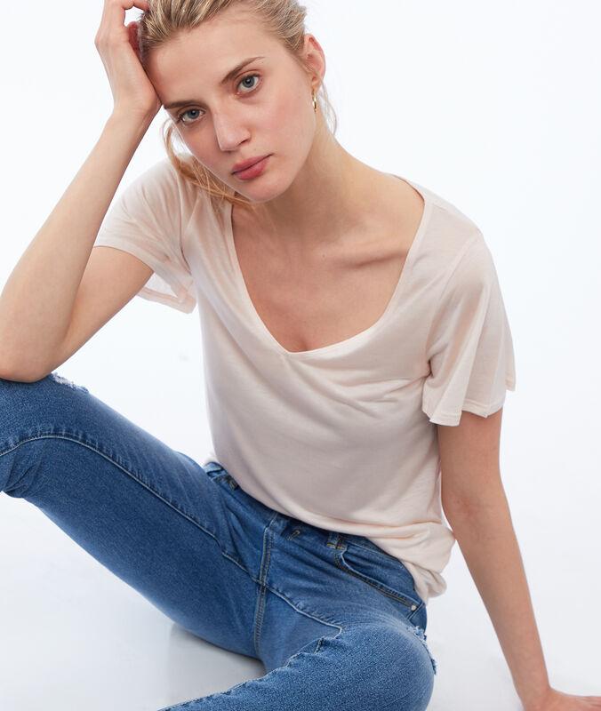 Tencel® v-neck t-shirt nude.