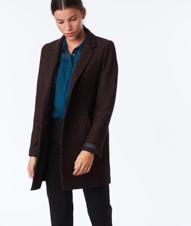 Manteau trois-quarts en laine mélangée roux et noir.