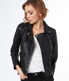 Leather-effect biker jacket black.