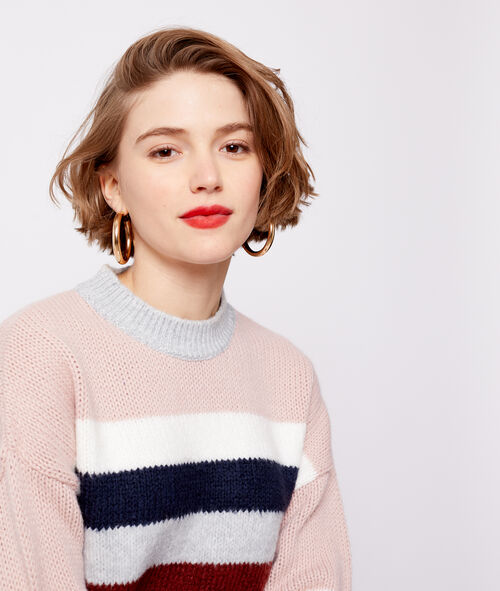 Stripe cable knit jumper