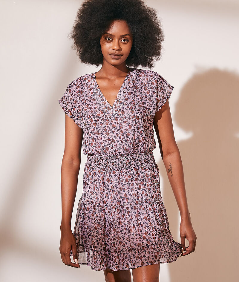 Flowing floral print dress with metallic thread