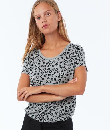 T shirt à motifs gris chiné clair.
