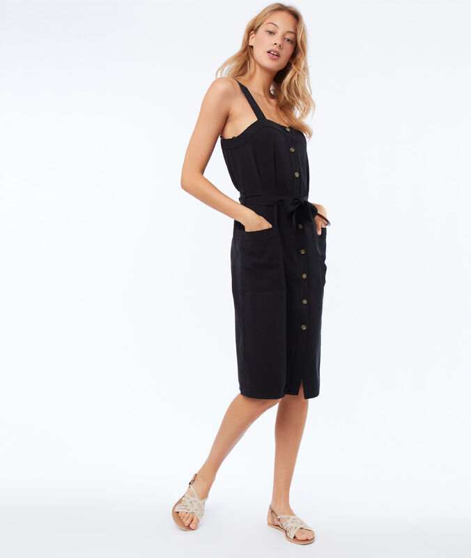 Tencel® button-down dress black.