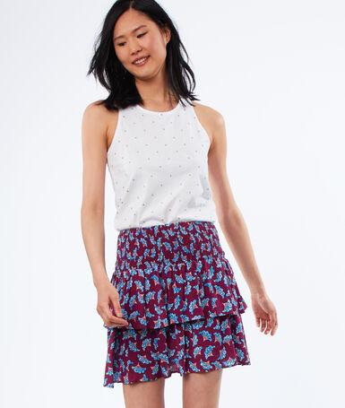Flowing print skirt carmine.