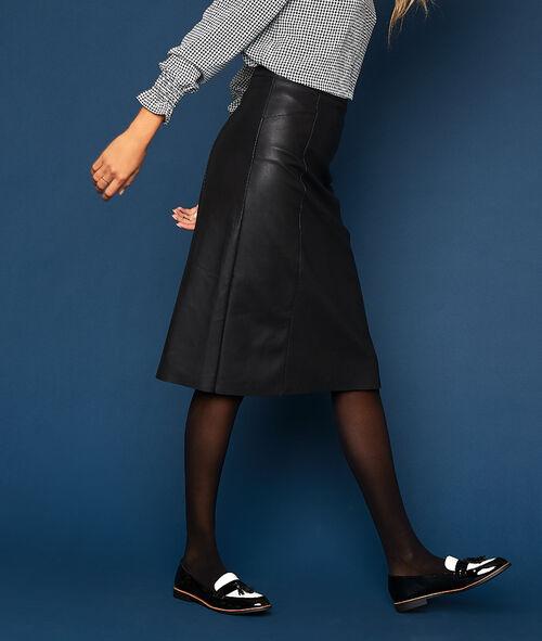 Leather-look midi skirt