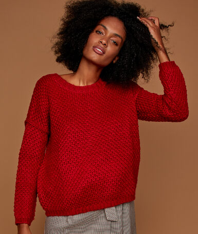 Pull grosse maille carmin.