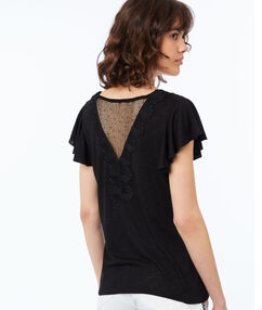 Guipure lace v-necked t-shirt black.