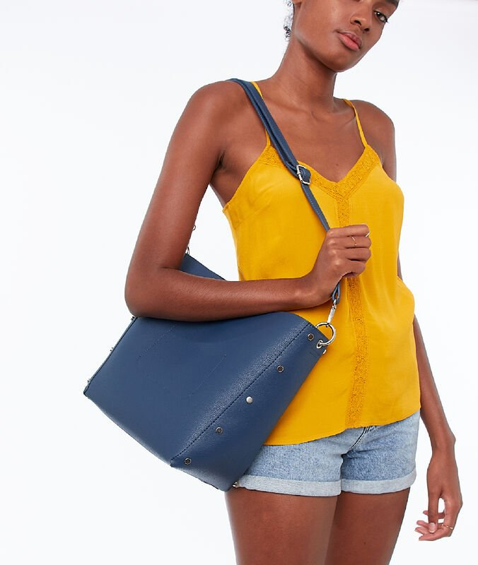 Tote bag with small studs navy blue.