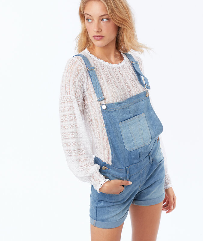 Jean overalls medium faded blue.
