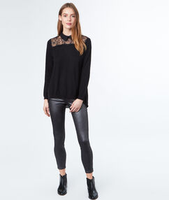 Two-in-one jumper with lace yoke and shirt collar black.