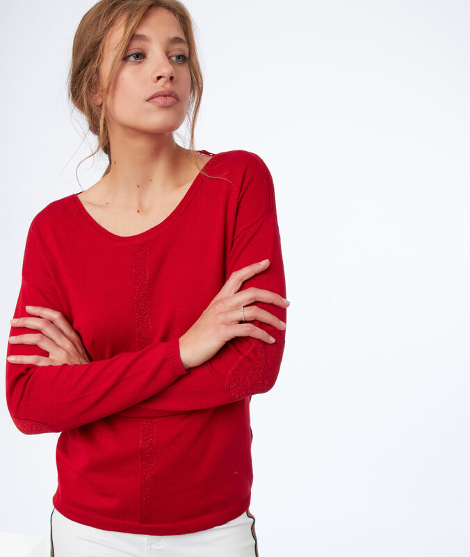 Plain sweater with wide neck red.