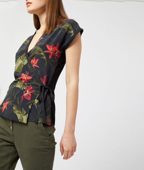 Wrap front top with tie and floral print