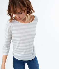 Striped 3/4 sleeves t-shirt ecru.