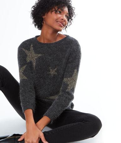 Star print jumper grey.