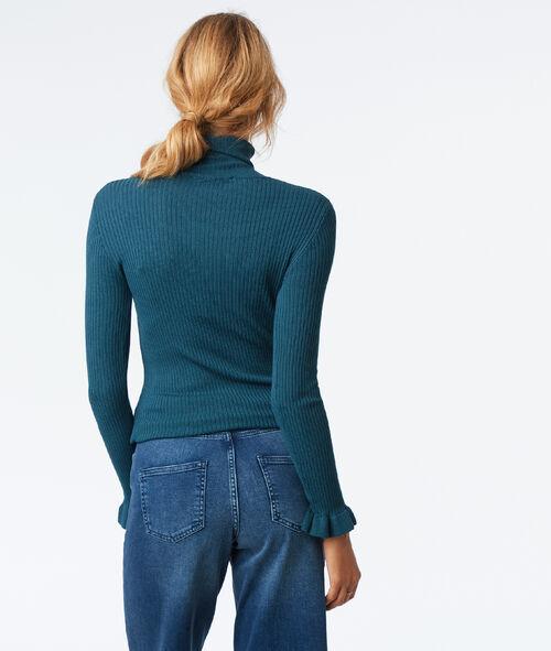 Frill sleeves roll neck jumper