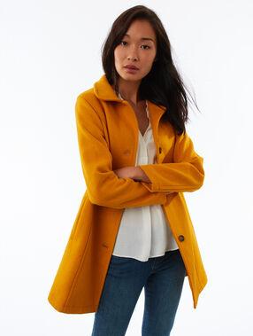 Manteau 3/4 boutonné en laine mélangée miel.