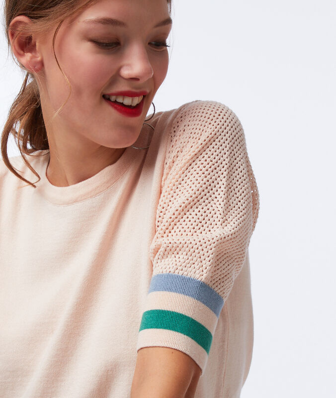 Jumper with short cotton sleeves pale pink.