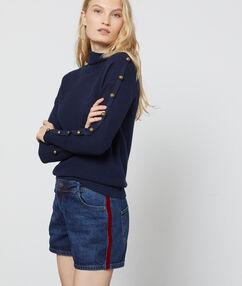 Short en jean avec bande sur le côté stone.