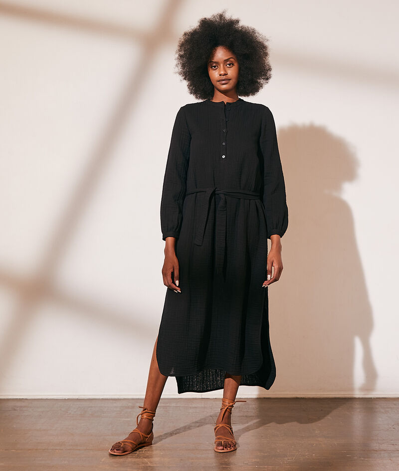 Long belted cotton gauze dress