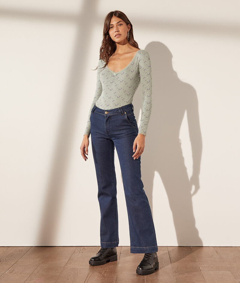 Pointelle body with long sleeves