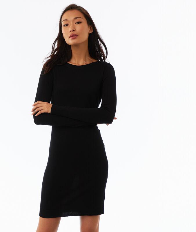 Long sleeve jumper dress black.