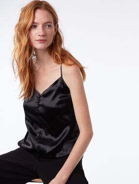 Satin cami with button up detail black.