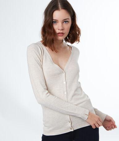 Long-sleeved cardigan ecru.