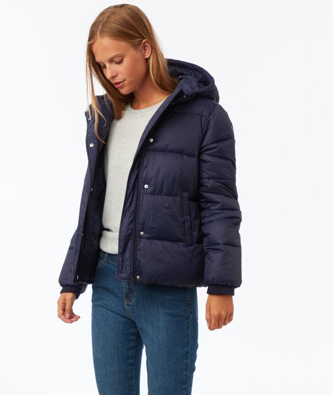 Short hooded fleece jacket navy blue.