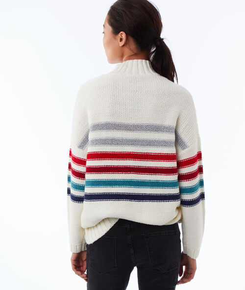 Striped roll neck