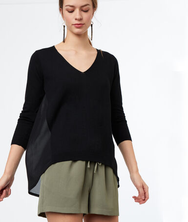 Bi-material v-necked jumper black.