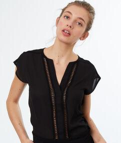 Top with tunisian collar black.