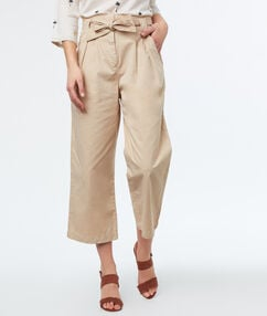 Belted wide leg trousers off-white.