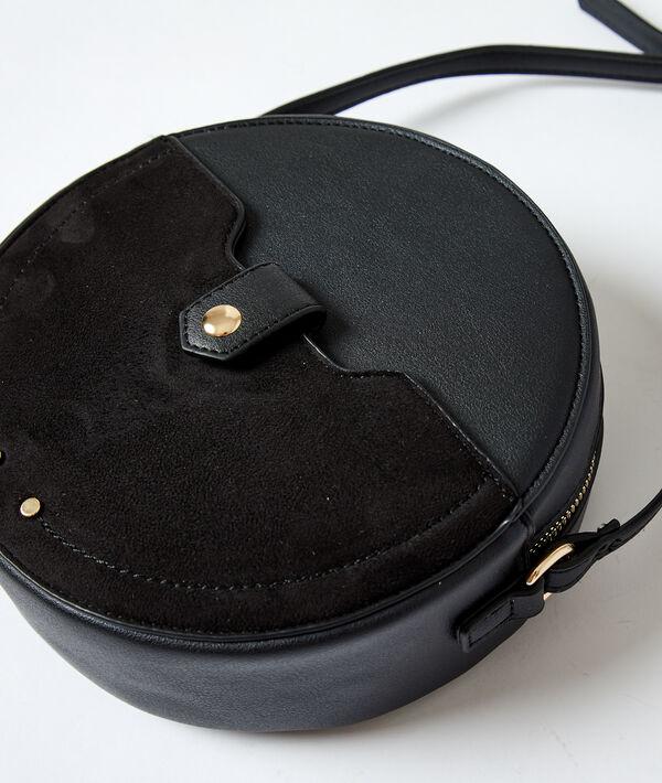 Dual fabric round messenger bag