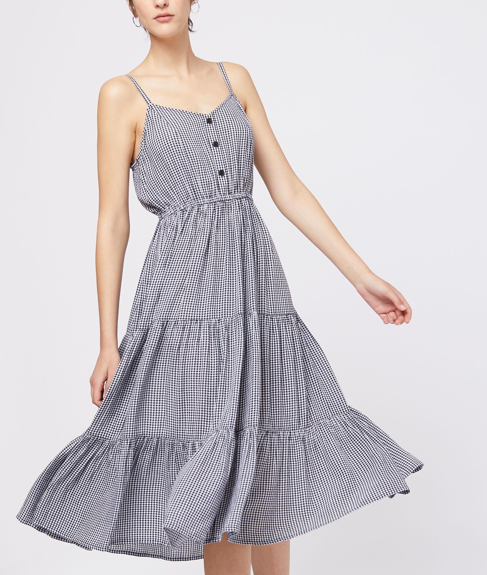 03f59ade453 Tie back gingham dress - Etam