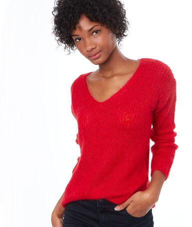 V-neck sweater red.