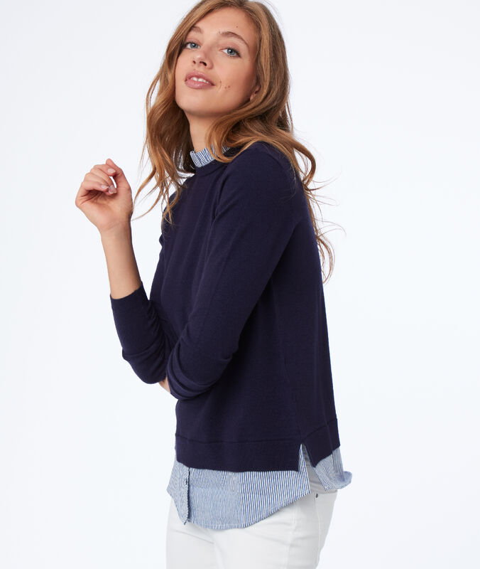 Two-in-one jumper with shirt collar navy blue.