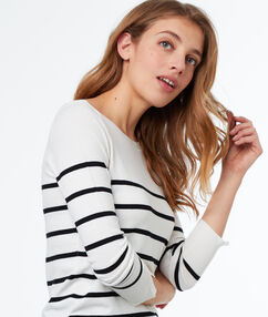 Stripy wide-necked jumper ecru.