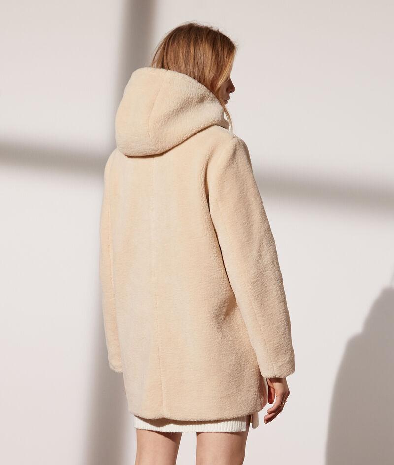 Sheepskin hooded coat