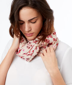 Floral print scarf off-white.