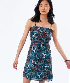 Robe à bretelles imprimé fleurs bleu marine.