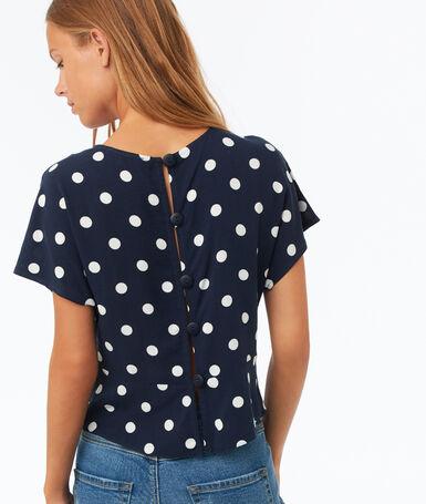 Polka dot printed top navy blue.