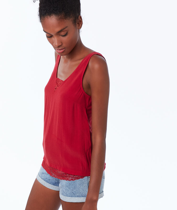 Cotton guipure tank top carmine.