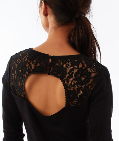Open back sweater with lace panel black.