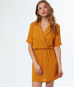 Tie waisted dress ochre.