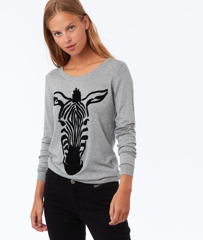 Zebra round neck jumper light grey marl.