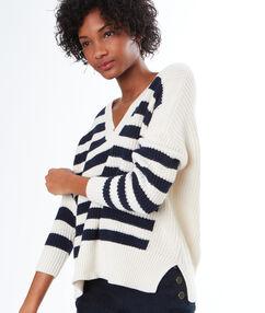 Cotton striped v-neck jumper ecru.